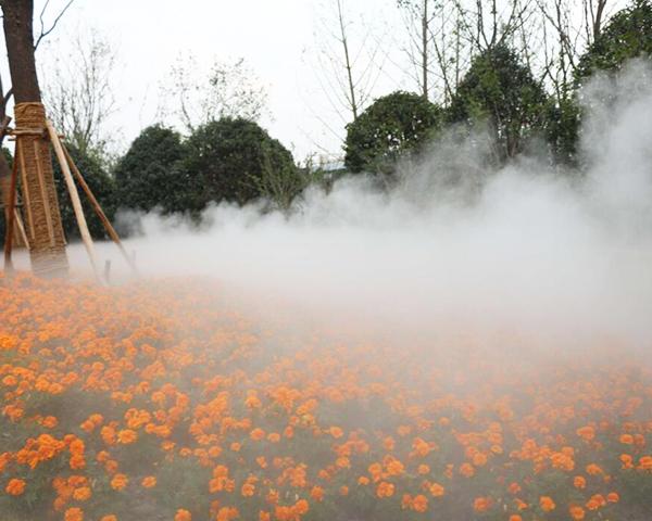 人工湖绿地喷雾景观